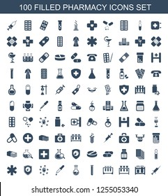 100 pharmacy icons. Trendy pharmacy icons white background. Included filled icons such as injection, test tube, pipette, virus and pills, health insurance. pharmacy icon for web and mobile.