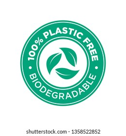 100% Plastic free. Biodegradable icon. Round and green symbol.