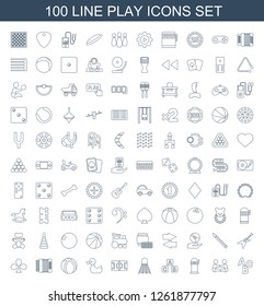 100 play icons. Trendy play icons white background. Included line icons such as ABC, baby playing with another baby, Slot machine, ABC cube, shuttlecock. play icon for web and mobile.