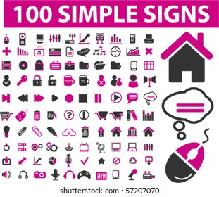 100 professional simple signs. vector