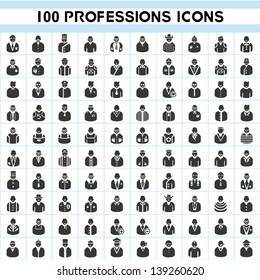 100 professions icons, profile icon set, 100 characters of person icon set