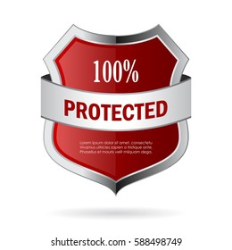 100 protected metal shield vector web icon illustration isolated on white background. Flat web design element for website, app or infographics materials.