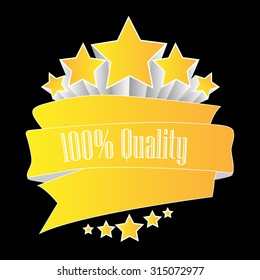 100% quality button yellow on black background