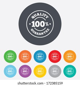 100% quality guarantee sign icon. Premium quality symbol. Round colourful 11 buttons. Vector