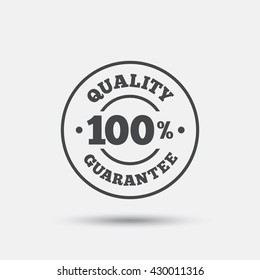 100% quality guarantee sign icon. Premium quality symbol. Flat quality web icon on white background. Vector