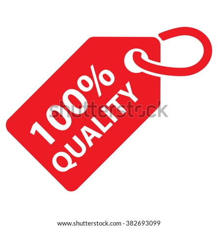 100 Quality Tag Red Color Vector Illustration