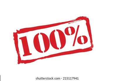 100% red rubber stamp vector over a white background.