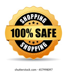 100 safe shopping gold seal vector illustration isolated on white background