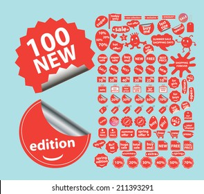 100 sales, shop isolated strickers, icons, signs, silhouettes, illustrations set, vector