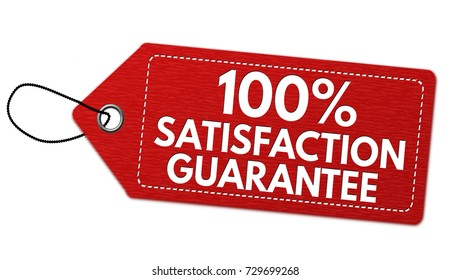 100% satisfaction guarantee label or price tag on white background, vector illustration
