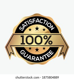 100% SATISFACTION GUARANTEE logo icon design vector