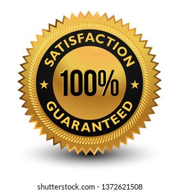 100% Satisfaction Guaranteed Badge - banner, sticker, tag, icon, stamp, label.