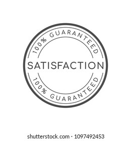 100% satisfaction guaranteed circle badge minimal style simple design black and white color