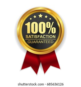 100% Satisfaction Guaranteed Golden Medal Label Icon Seal  Sign Isolated on White Background. Vector Illustration EPS10
