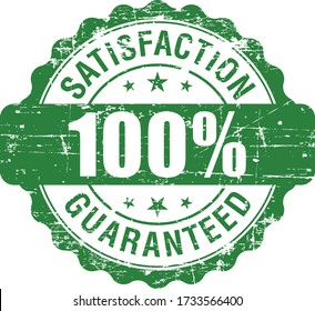 100% Satisfaction Guaranteed grunge rubber stamp on white background, vector illustration.