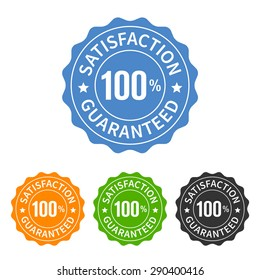 100% satisfaction guaranteed seal or label flat vector icon