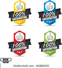 100% satisfaction label and sign - Vector illustration