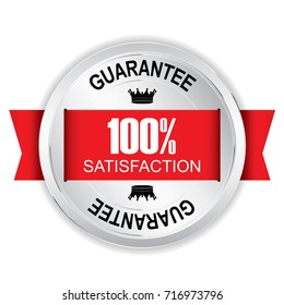100% Satisfaction Silver badge with red ribbon.vector illustration