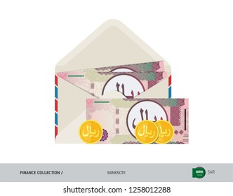 100 Saudi Arabia Riyal Banknote. Flat style opened envelope with cash. Saudi Arabia Riyal banknotes and coins. Salary payout or corruption concept.