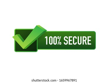 100 Secure grunge vector icon. Badge or button for commerce website. Vector stock illustration.