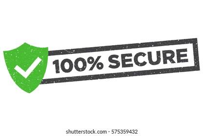100% Secure grunge vector stamp. Badge or button for commerce website.