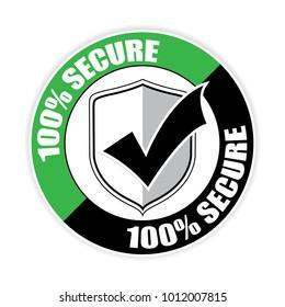 100% secure sticker,vector illustration