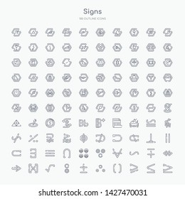 100 signs outline icons set such as is equal to or greater than, is greater than or equal to, parentheses grouping, therefore, plus less, reason, square root, absolute
