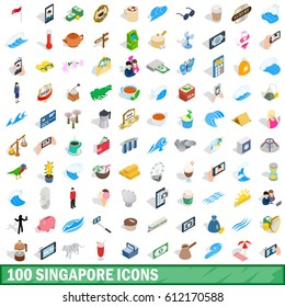 100 singapore icons set in isometric 3d style. Illustration of singapore icons isolated vector for any design