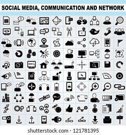 100 of social media, network communication icons set, vector