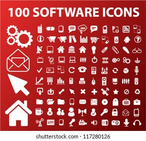 100 software icons set, vector