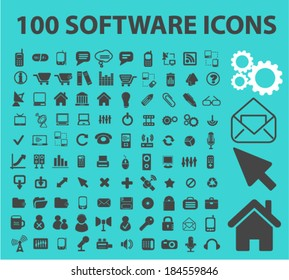 100 software, interface icons, signs set for website, apps, internet design