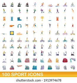 100 sport icons set. Cartoon illustration of 100 sport icons vector set isolated on white background