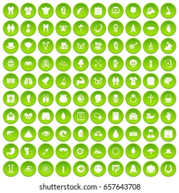 100 spring holidays icons set green circle isolated on white background vector illustration