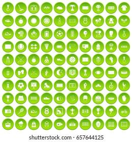 100 stadium icons set green circle isolated on white background vector illustration
