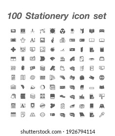 100 Stationery icon set vector
