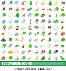 100 sweden icons set in isometric 3d style for any design vector illustration