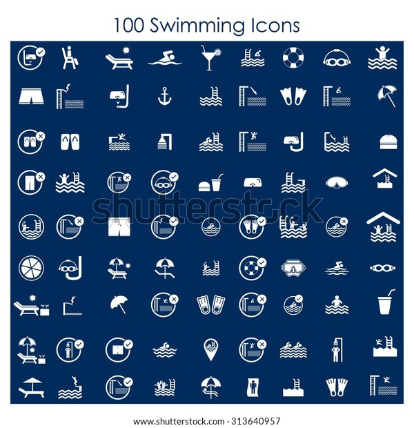 100 Swimming Pool Diving Icon Set Stock Vector (Royalty Free ...