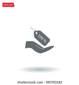 100% tag icon, vector illustration. Flat design style