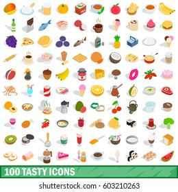 100 tasty icons set in isometric 3d style for any design vector illustration