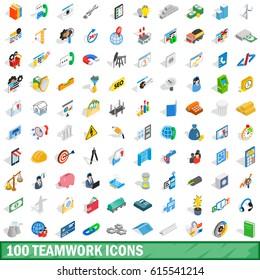 ensemble d'icônes 100 ressources de bureau d'équipe. Illustration isométrique 3d de 100 ressources de bureau d'équipe ensemble d'icônes vectorielles isolées sur fond blanc