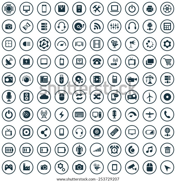 100 technology icons