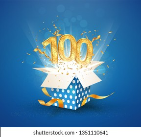 100 th years anniversary and open gift box with explosions confetti. Isolated design element. Template hundredth birthday celebration on blue background vector Illustration