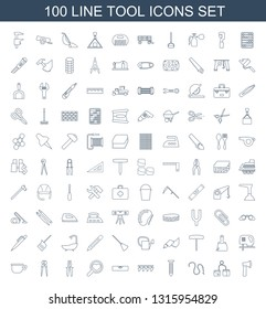 100 tool icons. Trendy tool icons white background. Included line icons such as axe, blod pressure tool, water hose, screw, plowing level ruler. icon for web and mobile.