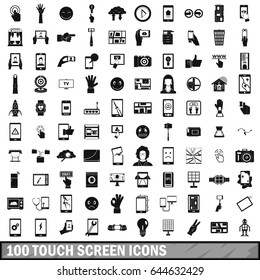 100 touch screen icons set in simple style for any design vector illustration