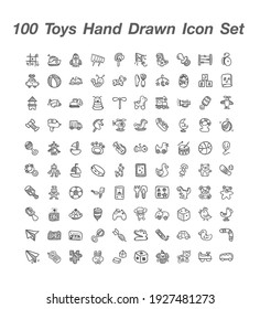 100 Toys Hand deawn icon set vector