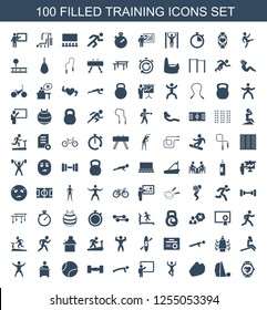 100 training icons. Trendy training icons white background. Included filled icons such as heartbeat watch, treadmill, baseball glove, man doing exercises. training icon for web and mobile.