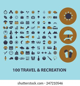 100 travel, recreation, tourism, vacation icons, signs, illustrations set, vector
