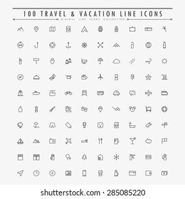 100 travel and vacation minimal line icons collection vector