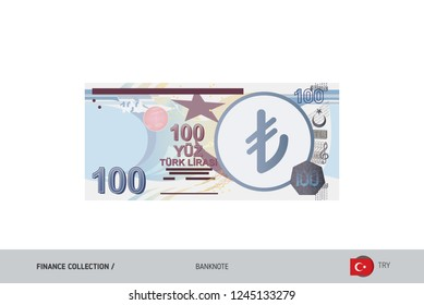 100 Turkish Lira Banknote. Flat style highly detailed vector illustration. Isolated on white background. Suitable for print materials, web design, mobile app and infographics.