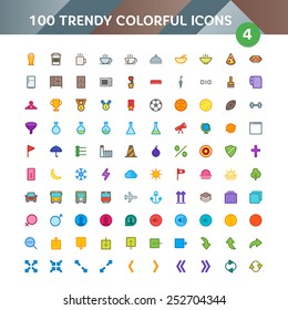 100 Universal Icons in Material Design Color Palette set 4